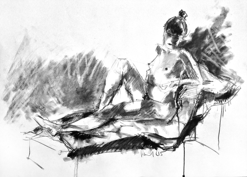 Seated Nude #17  2015 | 59.5 x 83cm Charcoal / Watercolour pencil Signed on front  Buy this artwork