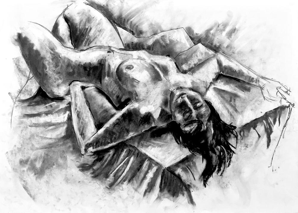 Reclining Nude #5 2012 | 59 x 42cm Charcoal & compressed charcoal Signed on front Buy this artwork