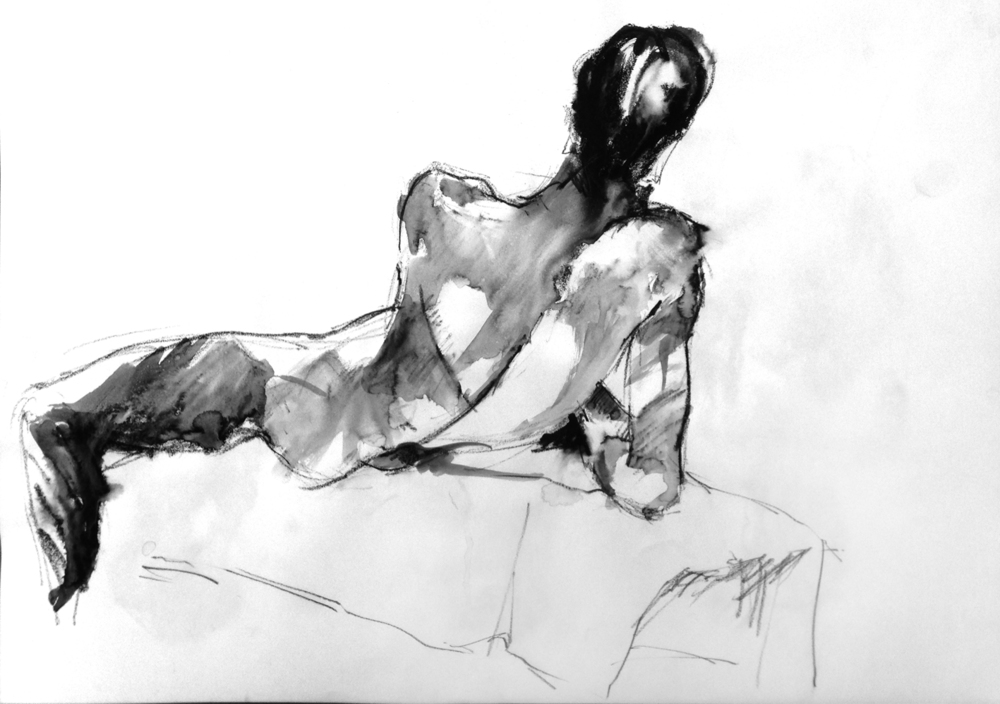 Reclining Nude #18  2015 | Watercolour pencil