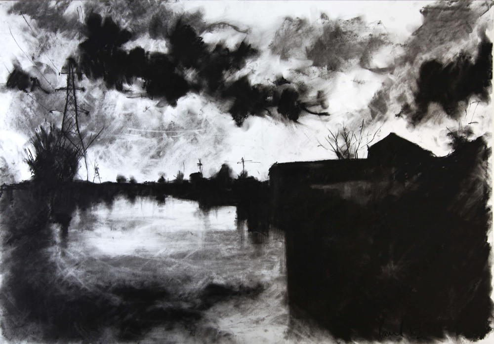 Lea Valley, London  2012 | 84 x 59.4cm Charcoal & compressed charcoal Signed   Buy this artwork