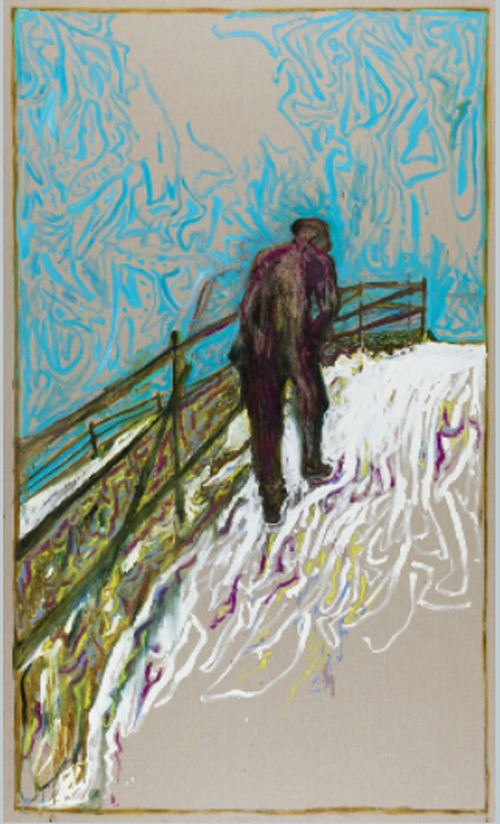 Man Walking Up a Snowy Slope Oil and charcoal on linen 305 x 183 cm
