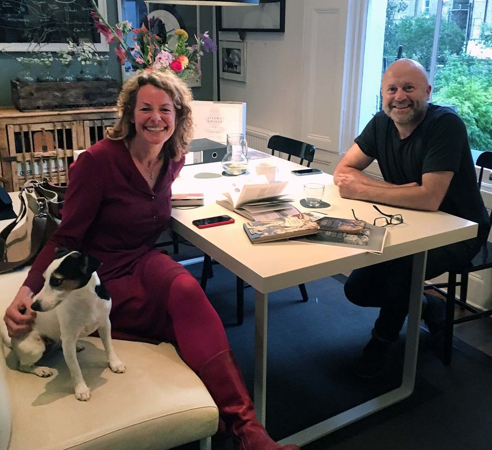 Kate Humble charms Poppy as we talk about the joys of walking. On the table are various books on folklore and ancient Britain, two of my favourite subjects
