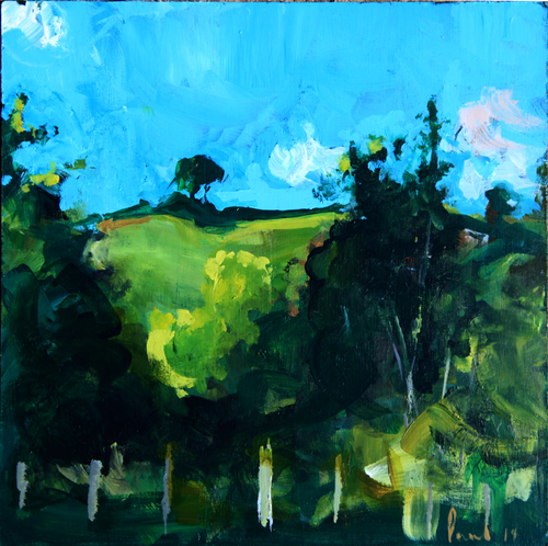 Henwood Hill, early evening  2014 | 33 x 33 x .5cm Acrylic on board Signed  SOLD