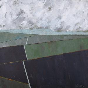 Towards Wolvesnewton (Dusk)  2016 | 62.5 x 63 x 3.5cm (framed) Acrylic on board  SOLD