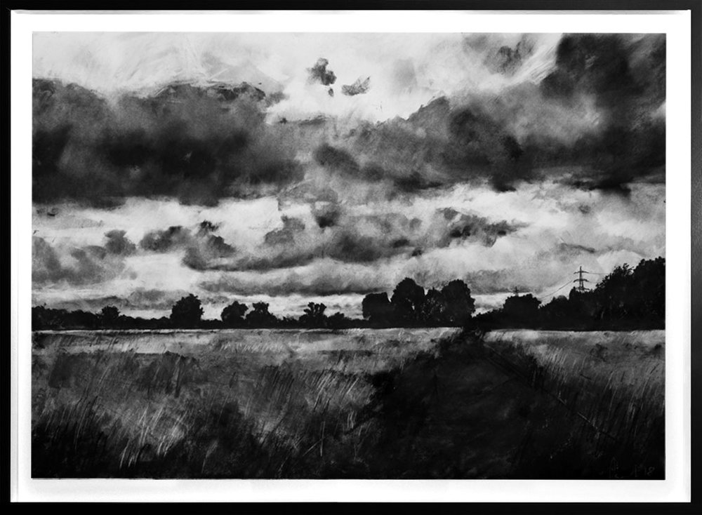 Walthamstow Marshes  2018 | 84 x 60cm Charcoal & compressed charcoal Signed on front POA