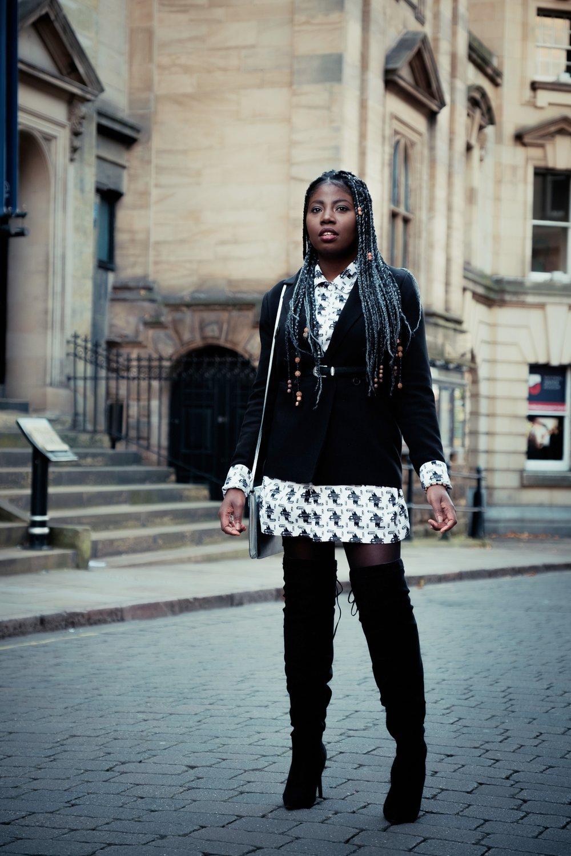 Outfit Details - Oversized Shirt- BRADERIEBlazer- BOOHOOBoots- PRIMARKPurse- DEBENHAMSHair- MissGathbeauty
