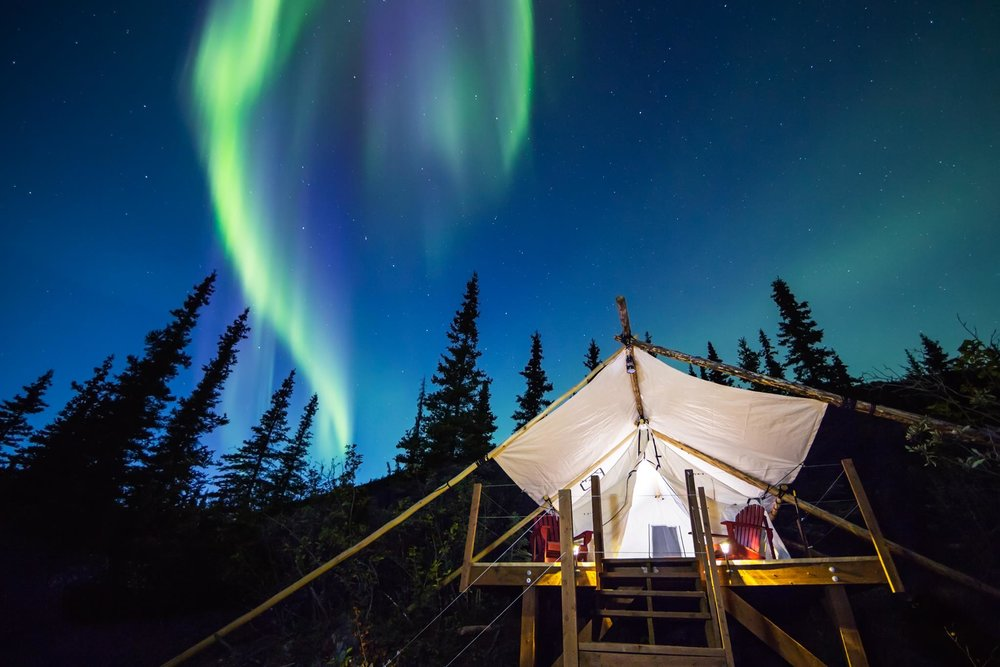 Northern lights dancing above a luxury tent in the later summer months                 Photo by: David Crane  http://www.dcranephoto.com