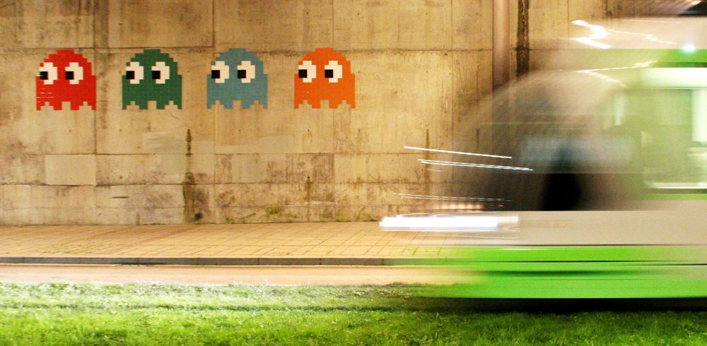 Space Invader's Pac-Man mosaics  BBO 24–27  (from left) in Bilbao near the Guggenheim Museum.