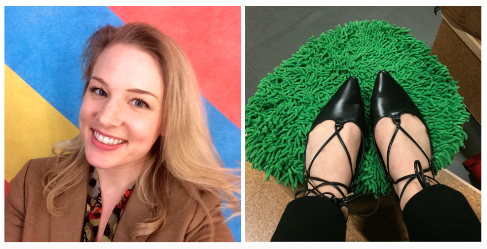 Left: Selfie with Sol! Right: Kicking up my heels (literally) on  Barbara Gallucci 's topiary-inspired study seating in the Bixler building (Boston readers will recognize this body of work from the MFA's current   Landscape, Abstracted   exhibition, which - like Colby's installation - activates a liminal hallway space).