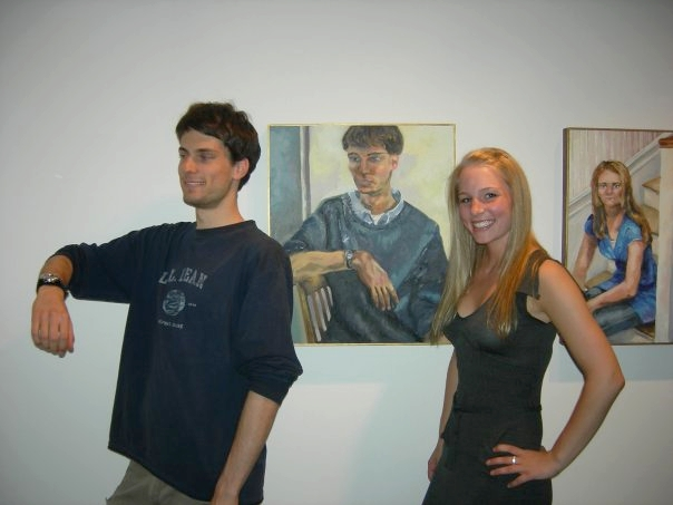 "Museum Memories - Here is a ""Throwback Thursday"" shot of me and my husband, Evan, posing with a portrait I painted of him at my Senior Art Show in '08 at the Colby College Museum of Art (we met Freshman year through Colby's club sports). Painting was fun, but think I should stick to analyzing it rather than making it!"