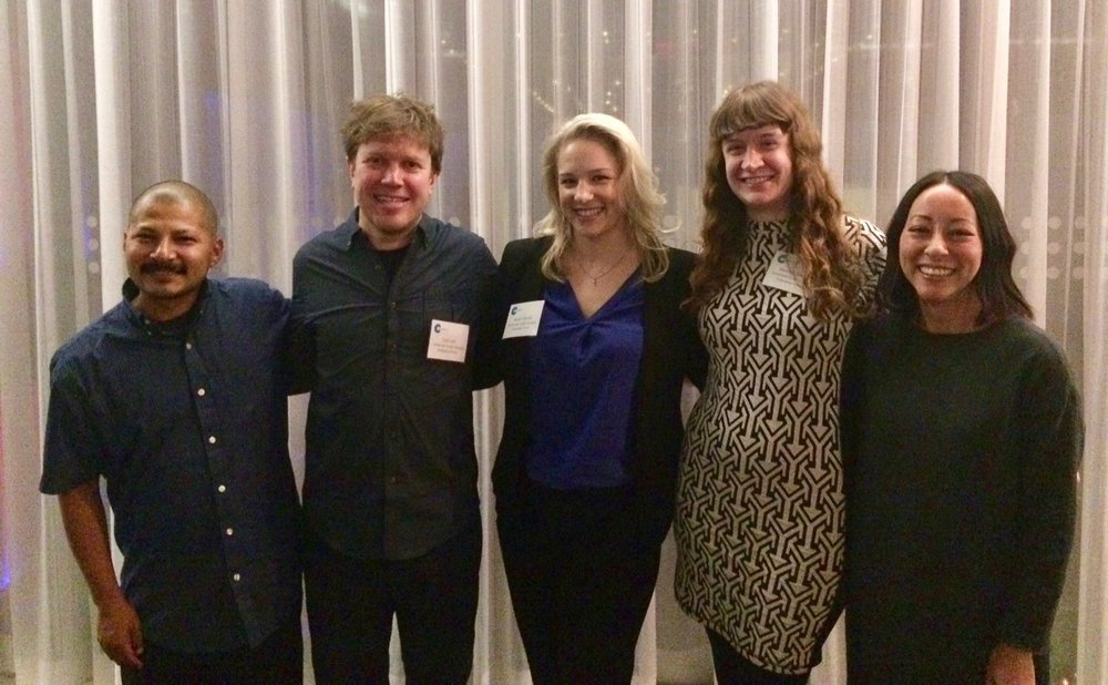 The Emerging Voices at the American Craft Council Board Dinner. From left to right:  Gerardo Monterrubio  (clay),  Ted Lott  (wood), me,  Hannah Batsel  (book arts),  Jennifer Ling Datchuk  (clay; first place artist winner). Not present:  Anna Mlasowsky  (conceptual glass).