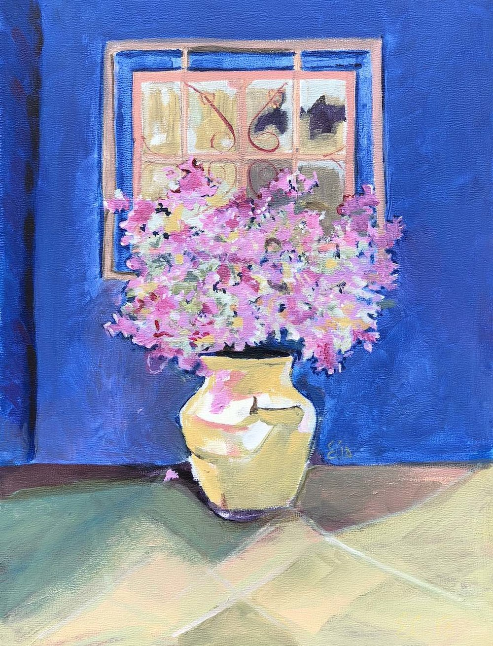 Pink bougainvillea and blue wall