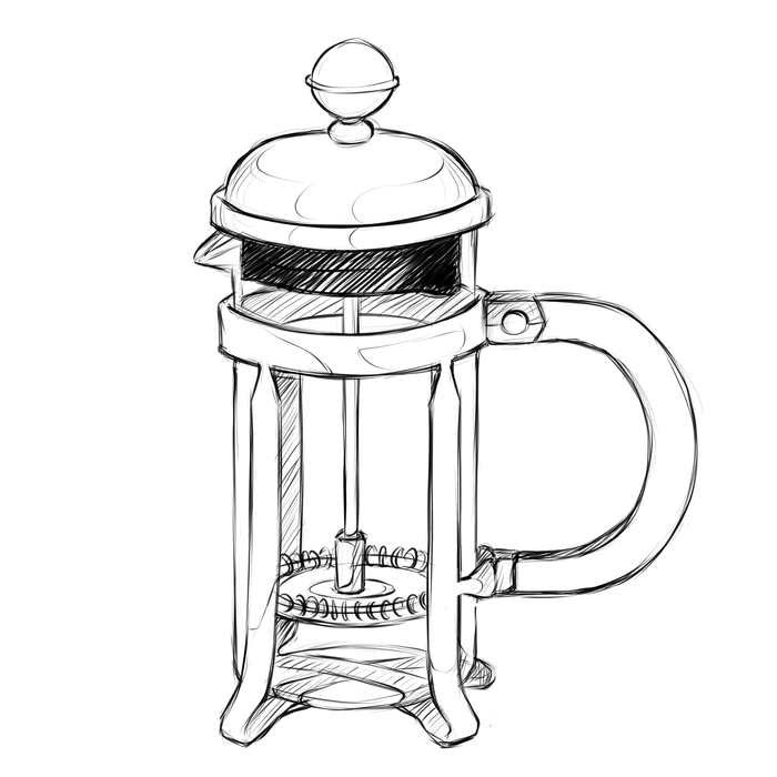 French Press - What you'll need: Coffee, hot water, scale, timer, stir spoonCoffee: 60 grams Grind: CourseBrew Time: 3:30 minutes