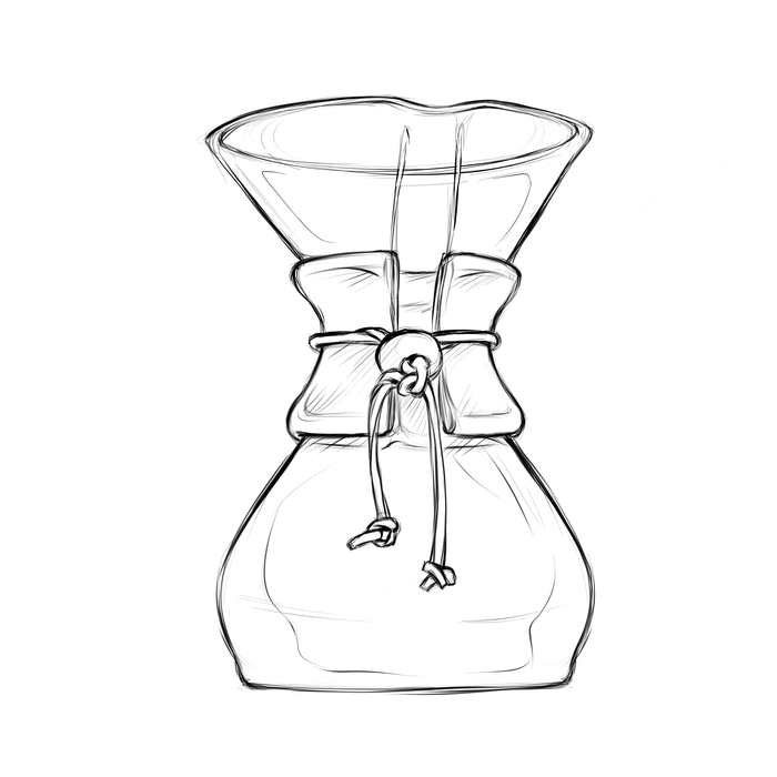 Chemex - What you'll need: Coffee, Chemex filter, scale, hot water, timer, stir spoonCoffee: 52 grams Grind: MediumBrew Time: 2:45 minutes
