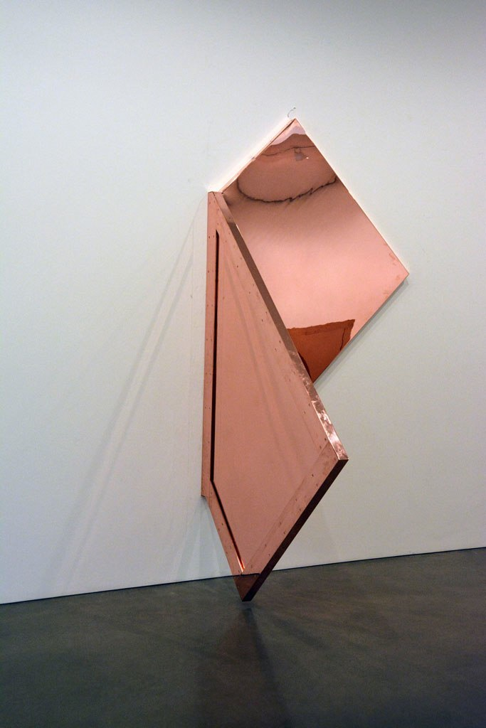 "Walead Beshty   Copper Surrogate  Polished copper and powder-coated aluminum armature 110"" x 60"" x 50"""