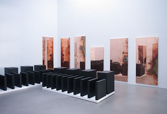 "Walead Beshty  Installation view of ""Performances Under Working Conditions""  at Petzel Gallery"