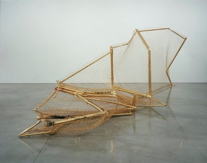 Aaron Young   Untitled  24k Gold Plated Steel 8' x 20'