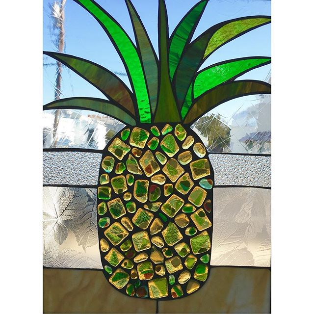 Aloha! Pineapple stained glass recently completed for a private residence. A perfect housewarming gift.