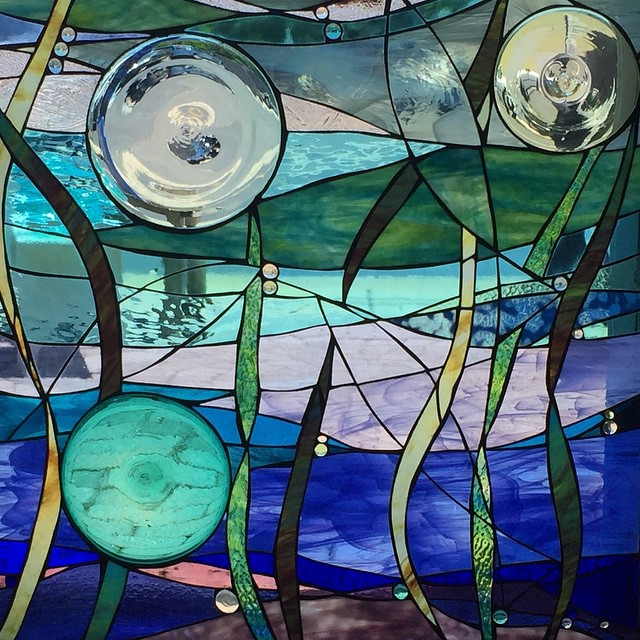 "Custom stained glass panel 34""x36"" for private collection in Harvey Cedars, NJ."