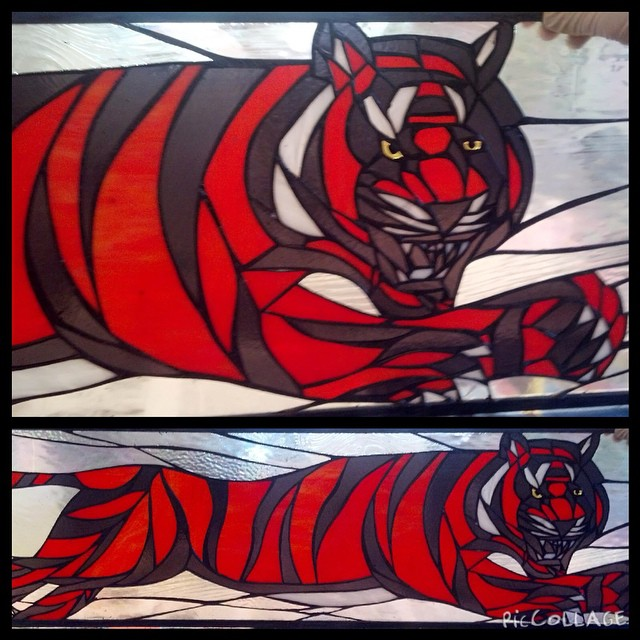 Bengal tiger for the Senior Class gift to Barnegat High School. The eyes are made of golden fused glass.