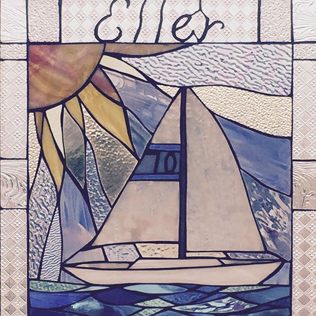 Custom 45 year anniversary stained glass. Smooth sailing and sunny skies ahead.
