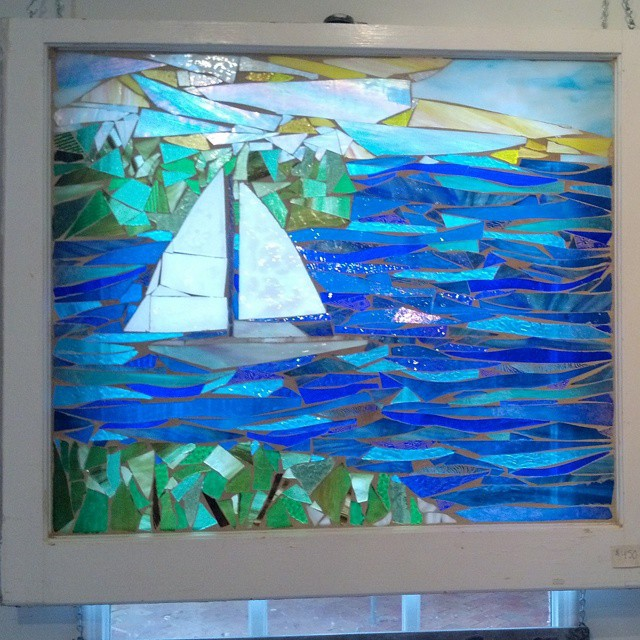 Sailing...Take me away. This is custom mosaic artwork on a salvaged wooden window.