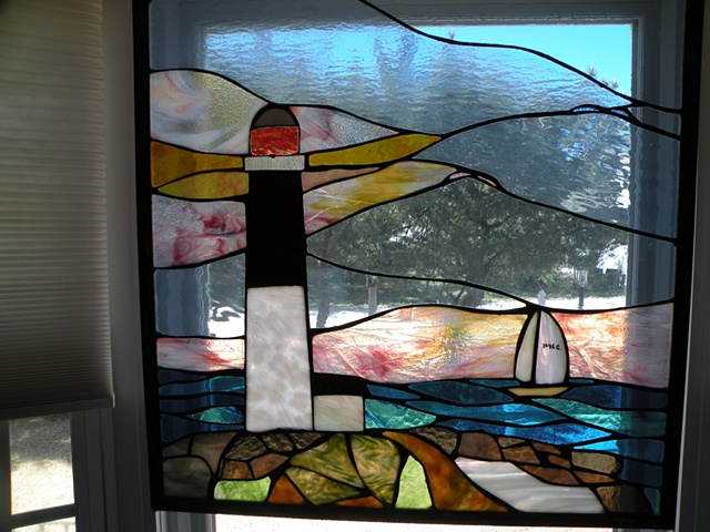 "Old Barney for Shirley  Stained Glass  24"" x 24""  Barnegat Lighthouse in stained glass at twillight in private residence in North Beach, NJ"