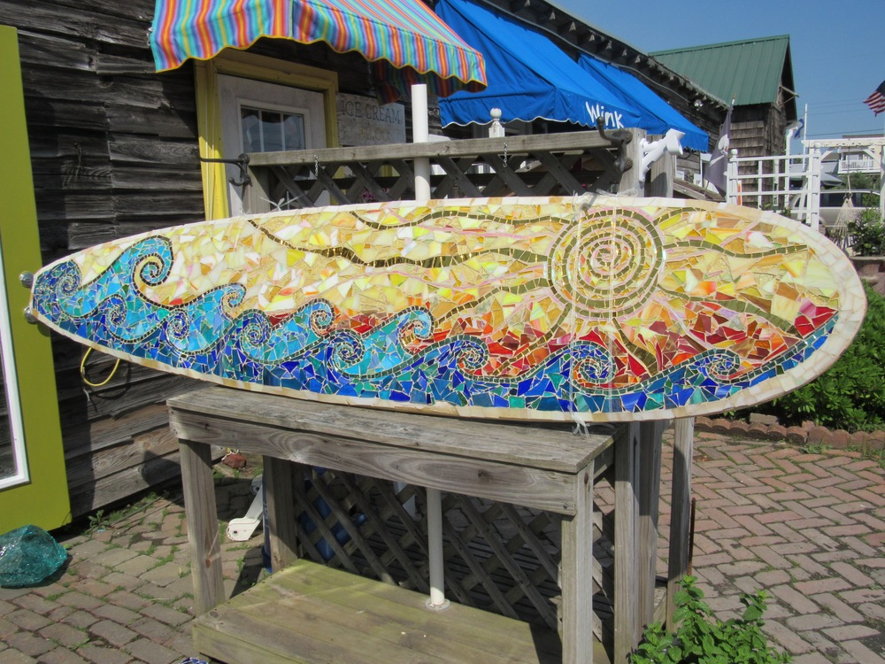Custom surfboard mosaic
