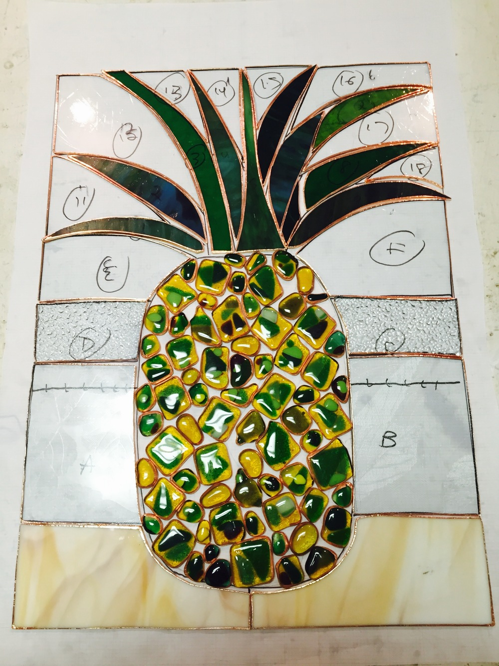 Custom pineapple stained glass insert in progress!
