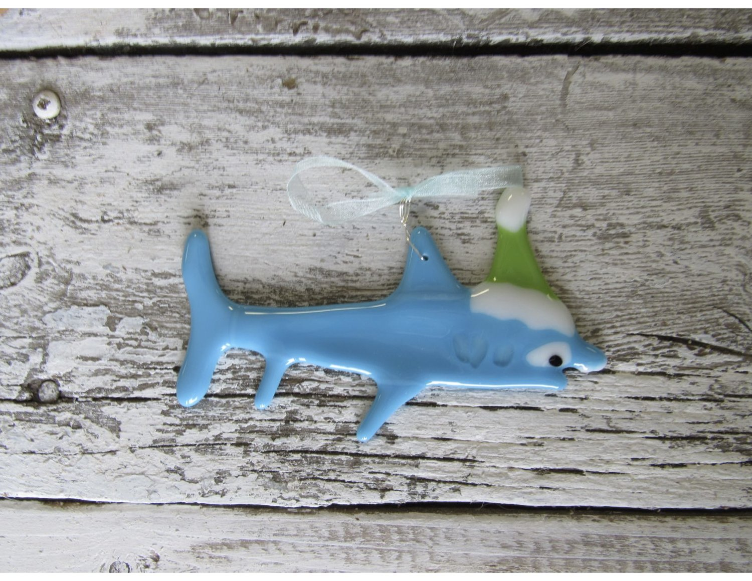 Great white shark christmas ornaments - Baby Shark In A Santa Hat Fused Glass Ornament