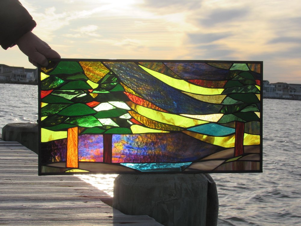 Custom Stained Glass Window.Northern Lights thru Trees 1.jpg
