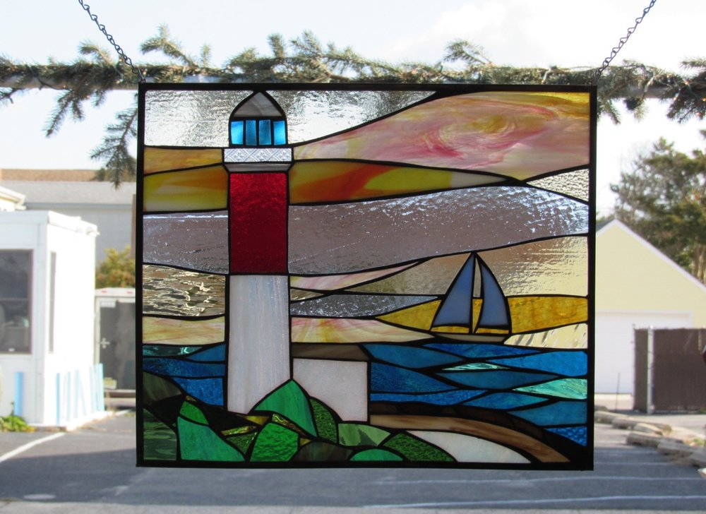 Custom Stained Glass Window.Barnegat Lighthouse.Old Barney and Sailboat 2.jpg