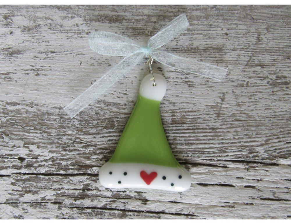 Santa hat ornament! Only $15, this fused glass ornament is entirely handmade, locally on Long Beach Island, NJ.