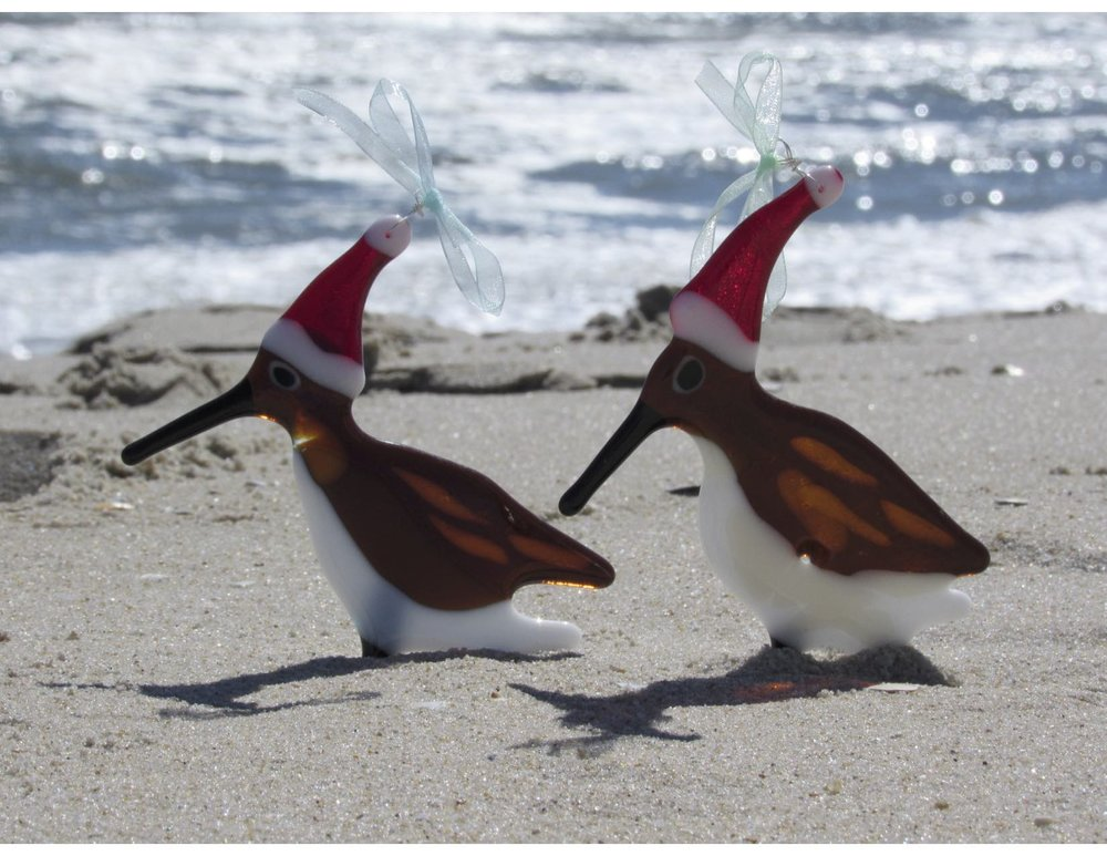 Santa Sand Piper Fused Glass Ornaments for sale in our Surf City Studio.