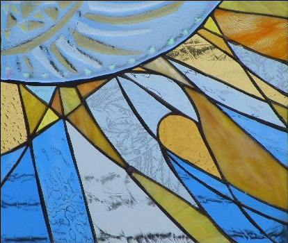 "Winter Sol Stained Glass Collection. Design for January 9: ""Sun Kissed Wave""."
