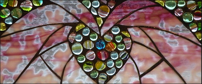 "Winter Sol Stained Glass Window Collection. Design for Febrarury 1: ""Warm Heart""."