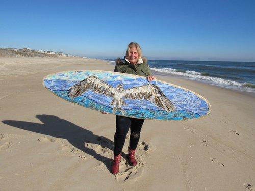 Custom Mosaic Surfboard Wall Art: Ospreys — SwellColors Glass Studio ...