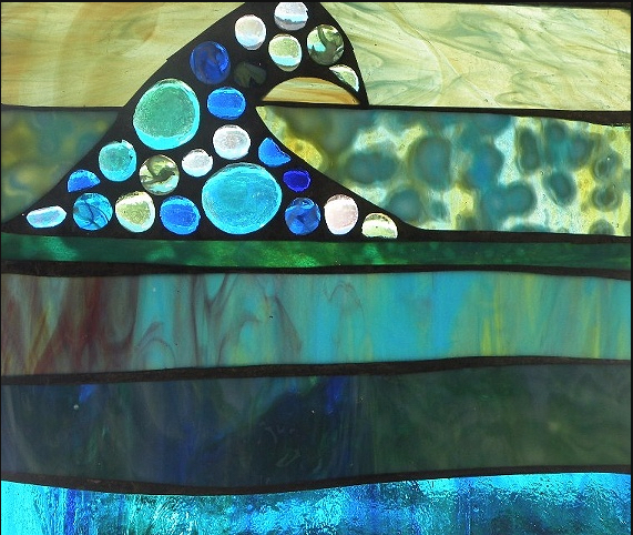 "Winter Sol Stained Glass Window Collection. Design for February 24: ""Playa Verde""."
