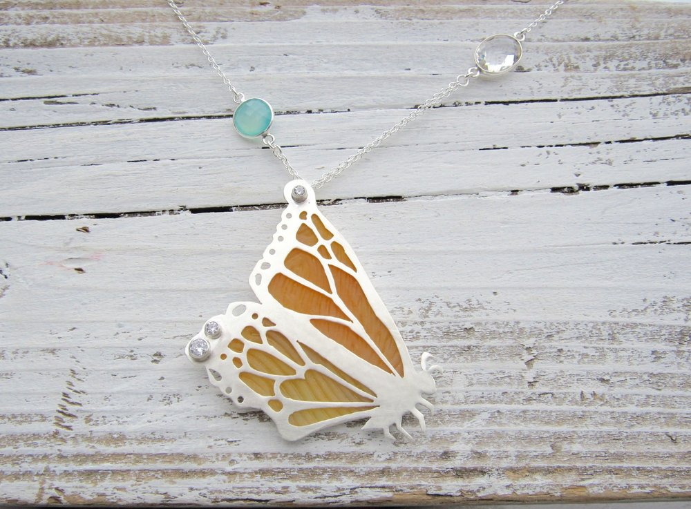 Monarch Sea Glass and Sterling Bezel Set Necklace