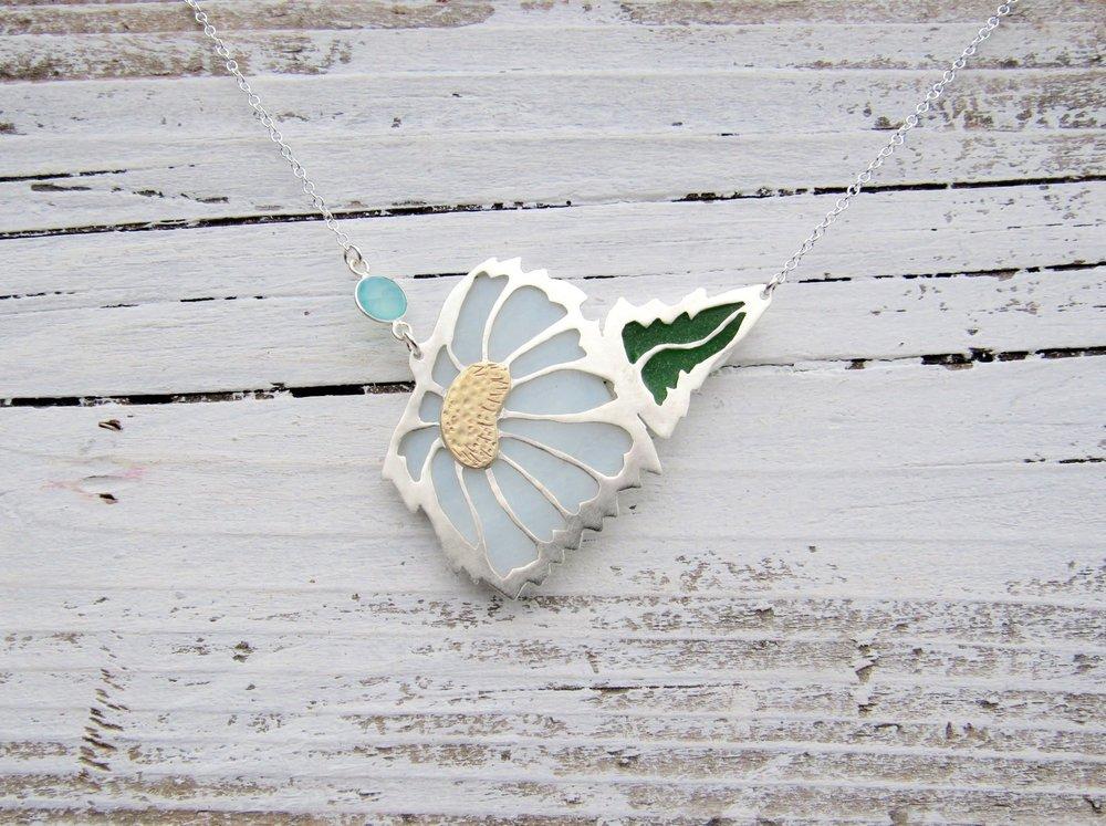Bellis perennis- Common Daisy Silver Bezel Set Sea Glass Necklace