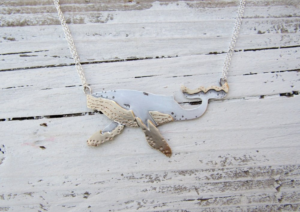 Humpback Whale Swimming Sterling and Brass Necklace