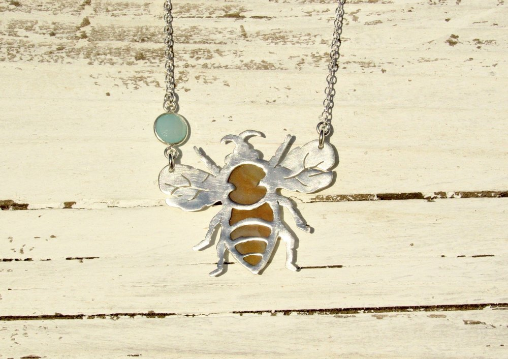 Honey Bee Sterling Silver Sea Glass and Blue Chalcedony Necklace