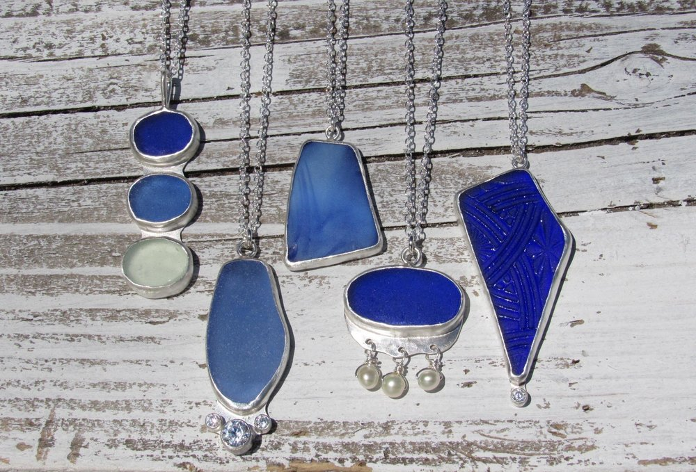 A study in blues! All kinds of new silver work made by local artist Ceire Parker