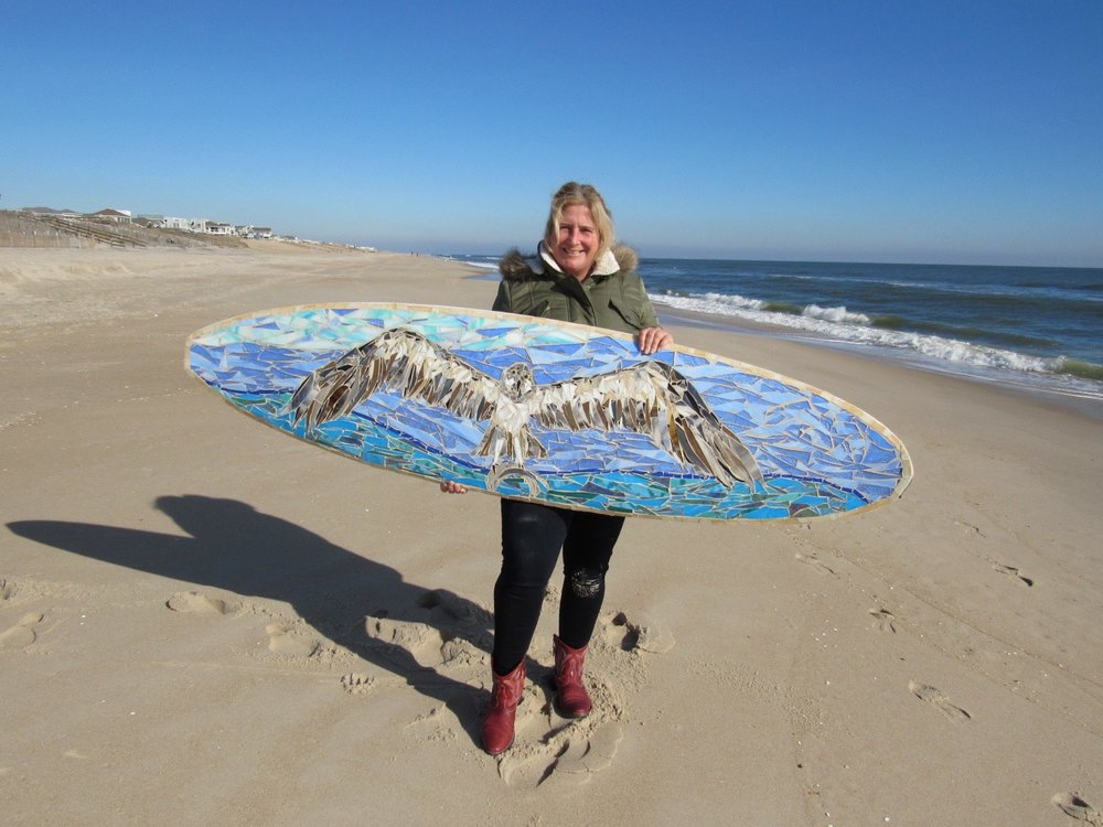 Ospreys Custom Glass Mosaic Surfboard  Custom made glass mosaic surfboard with majestic ospreys