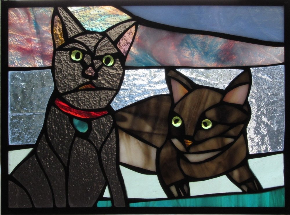 Pair of Cats Stained Glass Portrait  Adorable way to honor our favorite little buddies!