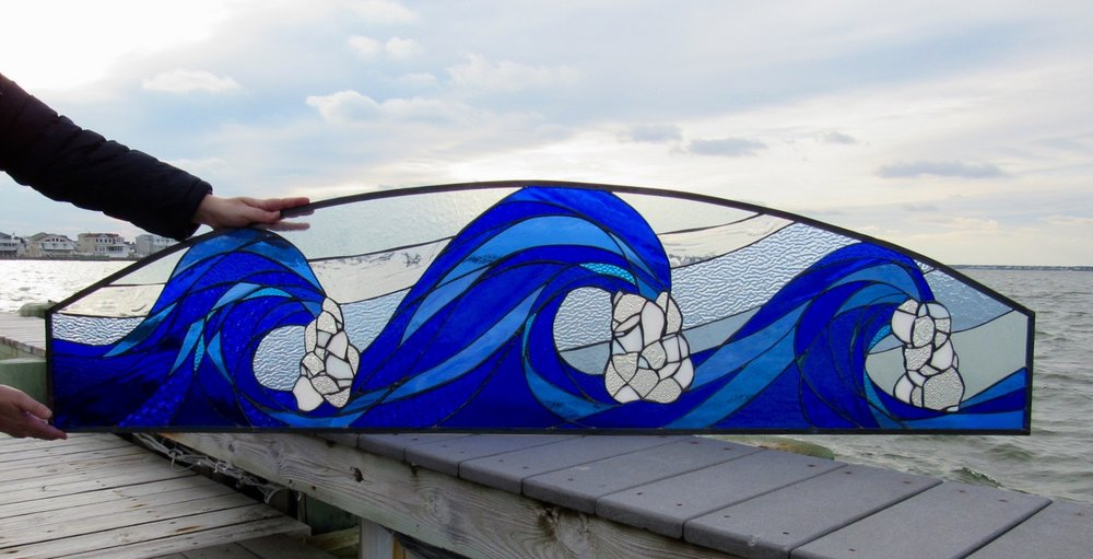 Custom Rolling Waves Stained Glass Window  This bad boy was shipped all the way to North Carolina. What a stunner!