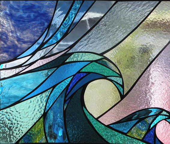 """Custom Stained Glass Window for April 2nd: """"Current"""". Primavera Stained Glass Collection."""