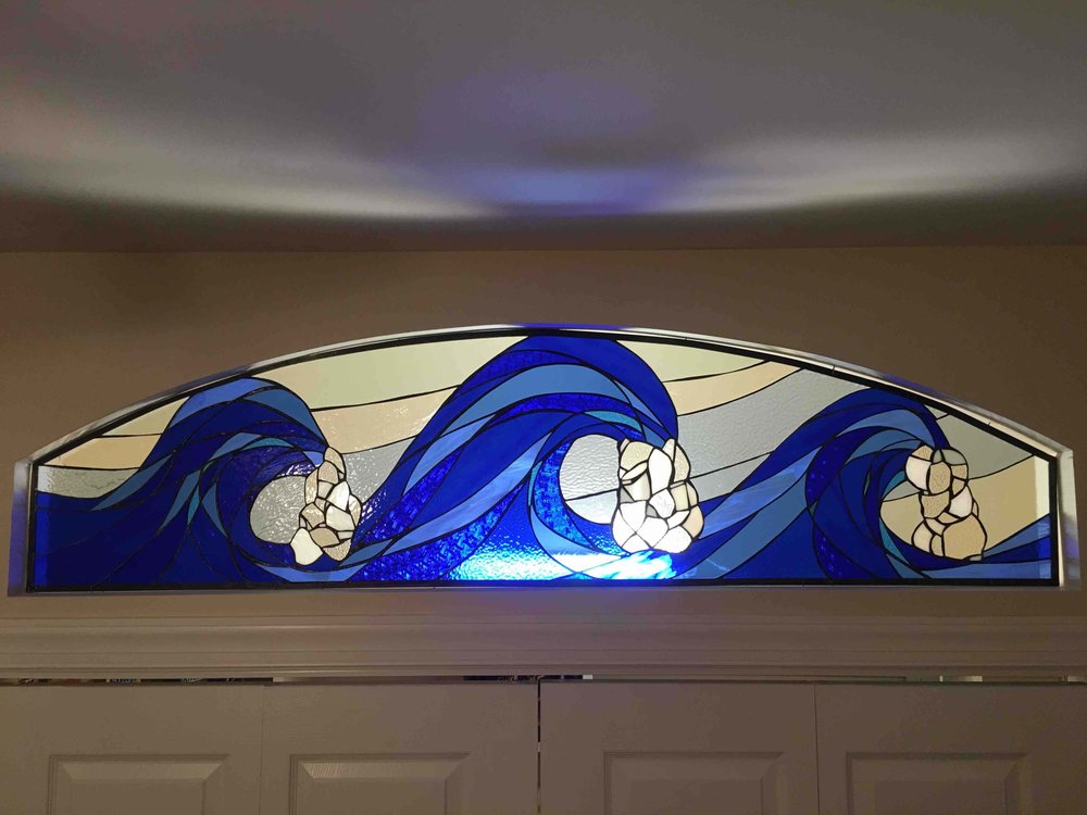 Custom Stained Glass Waves Window  Transom Window Installed 2017