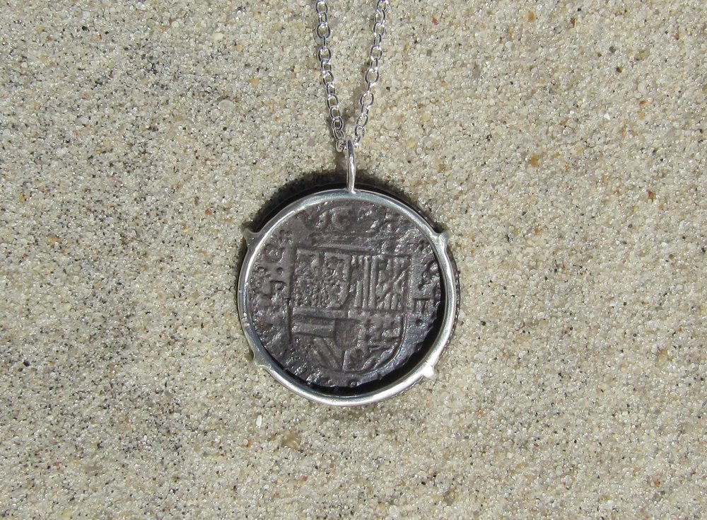 Spanish coin custom jewelry. back