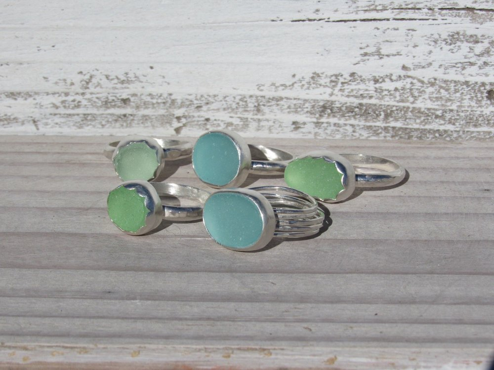 custom sea glass rings